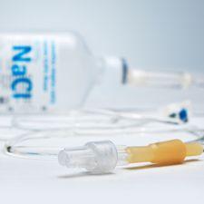An IV needle and fluid bag
