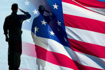 A photo of a man in the military and an American flag