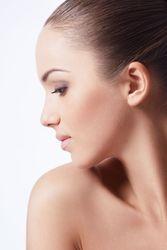 Woman with beautiful profile turning head
