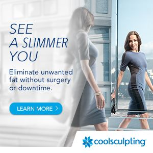 woman looking in the mirror and CoolSculpting logo