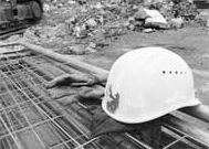 Hard hat at a construction site