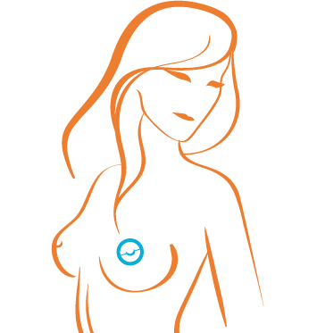 Illustration of topless woman in red lies, with areola drawn in blue