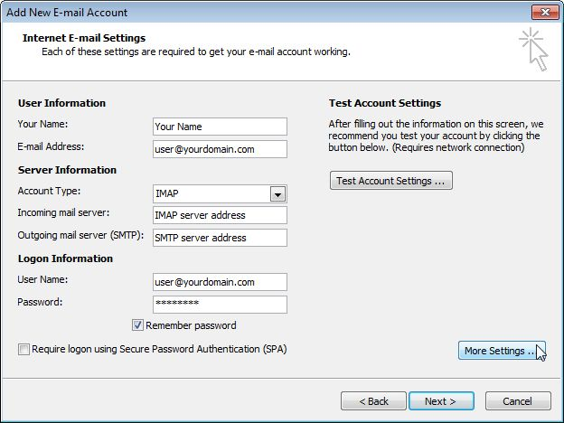 Email Setup - Microsoft Outlook 2007/2010 - Step 5