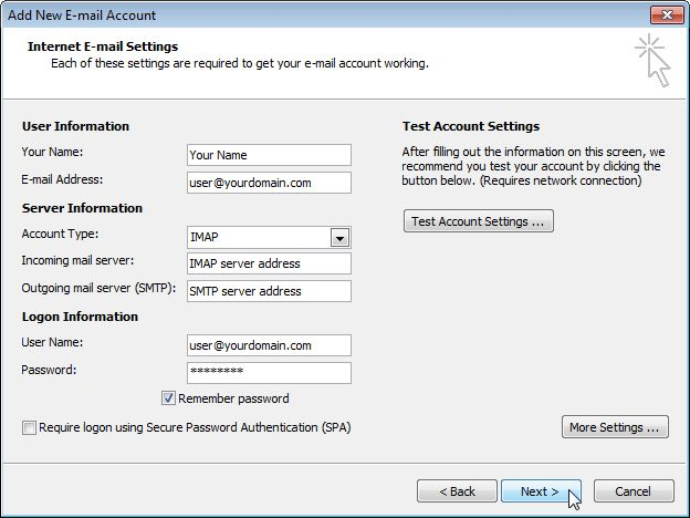 Email Setup - Microsoft Outlook 2007/2010 - Step 7