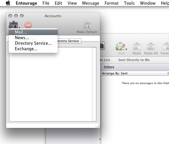 Email Setup - Microsoft Entourage 2008 for Mac - Step 2