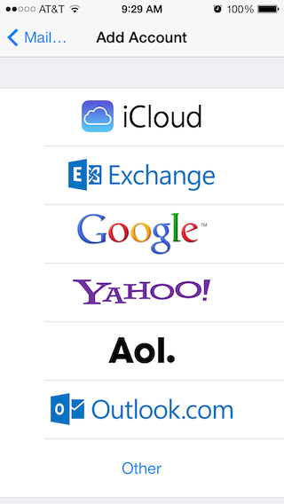 Email Setup - Apple iOS 7 - Step 1