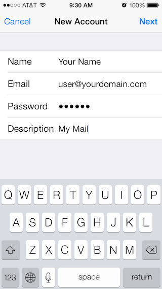 Email Setup - Apple iOS 7 - Step 3