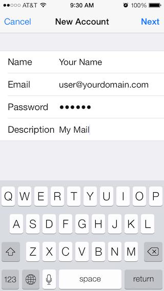 Email Setup - Apple iOS 7 - Step 3
