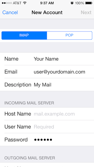 Email Setup - Apple iOS 7 - Step 4