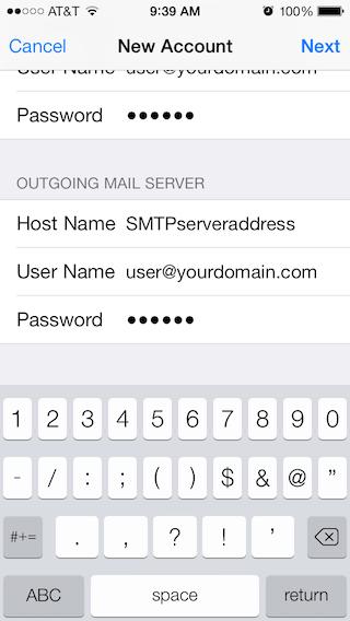 Email Setup - Apple iOS 7 - Step 6