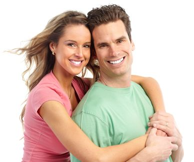 Smiling couple posing together