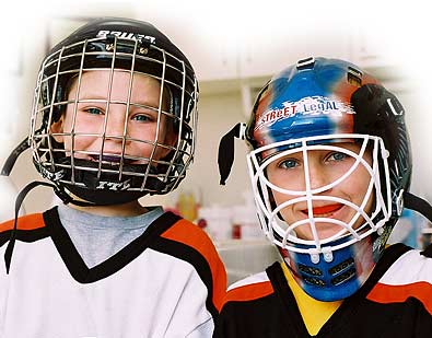 Boys wearing mouth guards