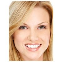 Smiling blond woman with straight teeth