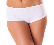 Woman's stomach and thighs in white boy shorts