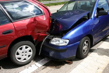 Two cars in a rear-end collision