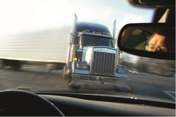 oncoming semi truck