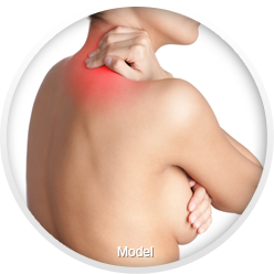 Woman holding breast and hand to neck highlighted in red to indicate pain