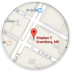 Map of Dr. Greenberg's Manhattan office location
