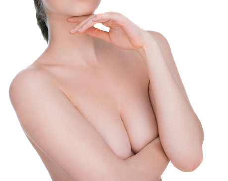 A naked woman covering her breasts with her forearms.