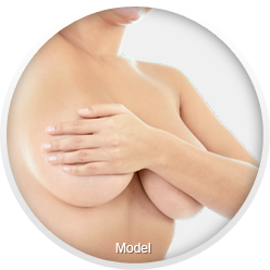 A Caucasian woman holds her nude breasts with one hand.