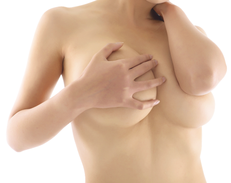 Topless woman grasping naked breast with her hand