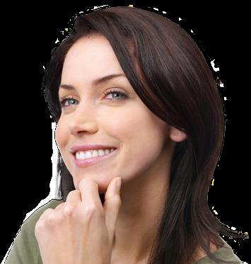 Brunette female smiling after eyelash and eyebrow restoration