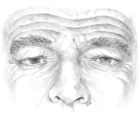 Pencil drawing close up of a man's face above the nose, displaying deeply furrowed brow