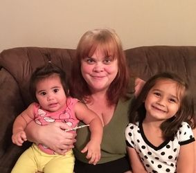 Kim Nelson and granddaughters after cataract surgery