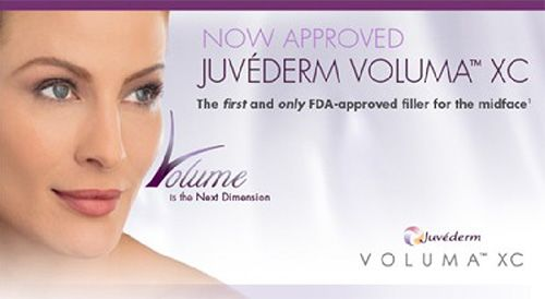 Caucasian woman with attractive cheekbones in JUVÉDERM® VOLUMA™ XC advertisement.