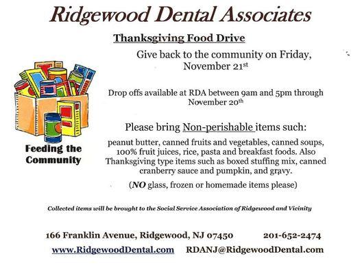 Ridgewood Dental Associates Food Drive
