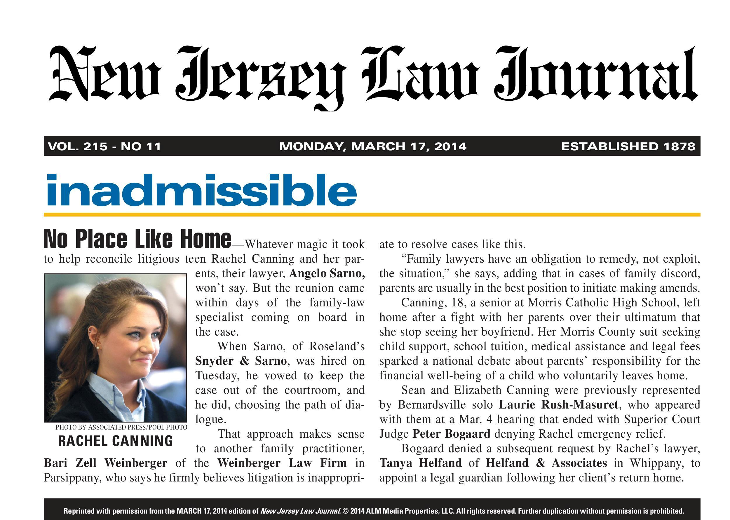 New Jersey Law Journal article