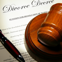 Photo of a gavel on a divorce decree