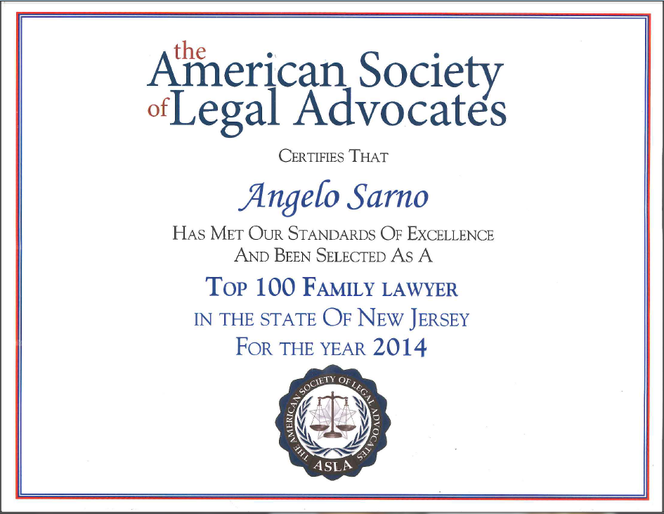 Photo of a certificate for Angelo Sarno
