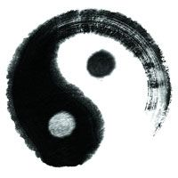 The traditional symbol for Yin and Yang, artfully rendered
