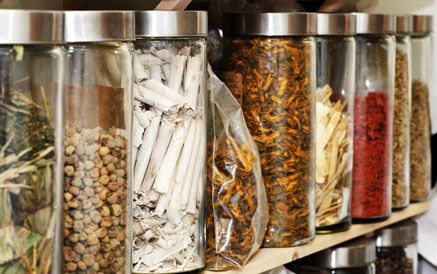 Jars of Chinese herbs used in therapy