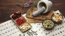 A variety of Chinese herbs, as would be used in natural medicine