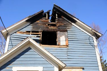 Home after fire has damaged roof