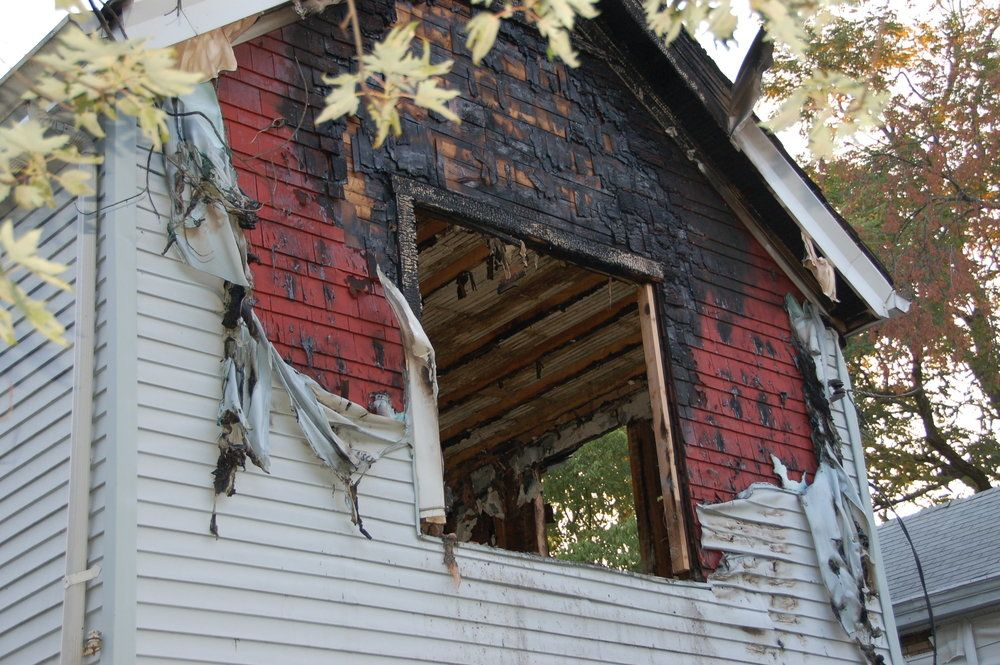 Fire-damaged home