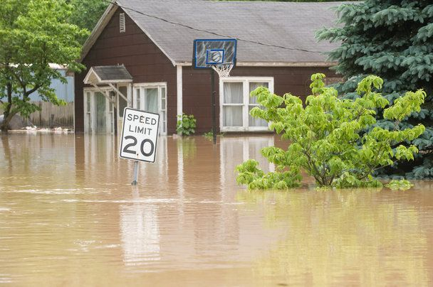 flooded home in Indiana
