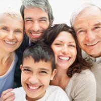 Smiling Caucasian family