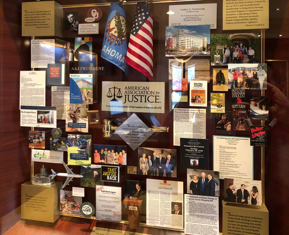 Display case for the American Association for Justice.