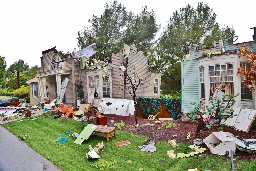 Houses damaged by tornado.