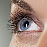 Extreme close up of woman's blue eye looking up