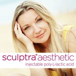 Portrait of blonde woman outside above the Sculptra® Aesthetic logo