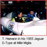 T. Hamann in his 1955 Jaguar D-Type at Mille Miglia