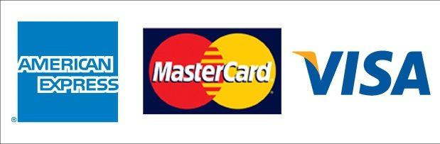 American Express logo, MasterCard Logo, and Visa Logo