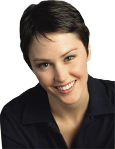 A young woman with a pixie cut.