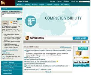 UPS website screen shot