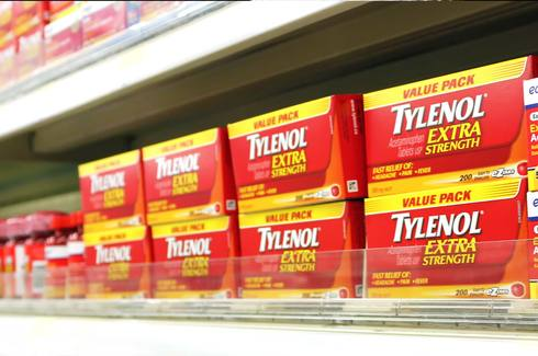 Tylenol® boxes on a shelf