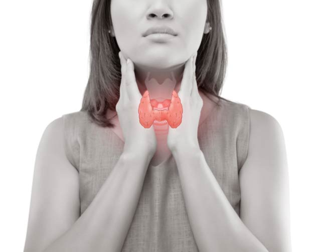 Woman holding throat with illustration of thyroid gland in front